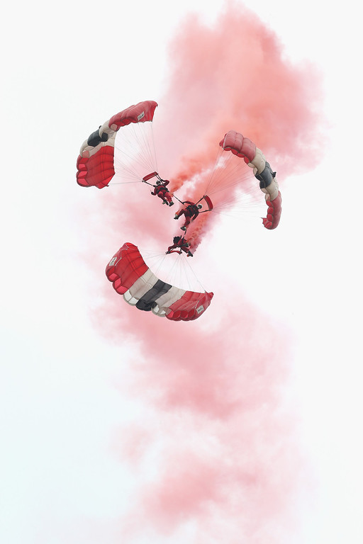 . Parachutists jump just outside Rainville during D-Day 70 Commemorations on June 5, 2014 in Ranville, France.  (Photo by Chris Jackson/Getty Images)