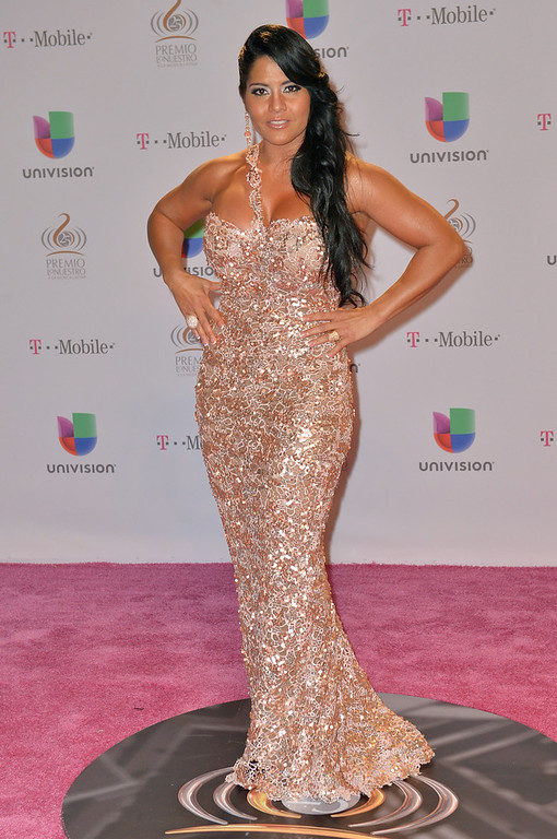 ". Maripily arrives at the 25th Anniversary Of Univision\'s ""Premio Lo Nuestro A La Musica Latina\"" on February 21, 2013 in Miami, Florida.  (Photo by Gustavo Caballero/Getty Images for Univision)"