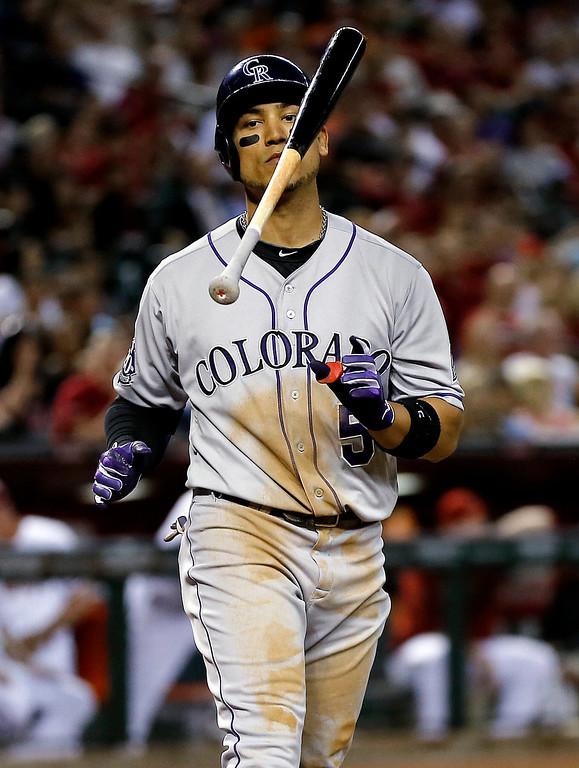 . Colorado Rockies\' Carlos Gonzalez flips his bat after striking out against the Arizona Diamondbacks during the third inning of a baseball game, Friday, April 26, 2013, in Phoenix. (AP Photo/Matt York)