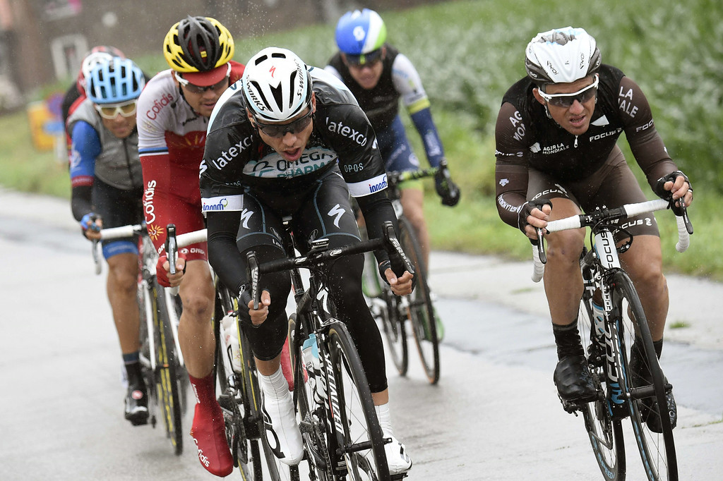 . Germany\'s Tony Martin (front-L) and France\'s Samuel Dumoulin (front-R) lead a breakaway during the 155 km fifth stage of the 101st edition of the Tour de France cycling race on July 9, 2014 between Ypres, northwestern Belgium, and Arenberg Porte du Hainaut in Wallers northern France.  AFP PHOTO / ERIC FEFERBERG/AFP/Getty Images