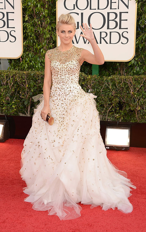 . Actress Julianne Hough arrives at the 70th Annual Golden Globe Awards held at The Beverly Hilton Hotel on January 13, 2013 in Beverly Hills, California.  (Photo by Jason Merritt/Getty Images)
