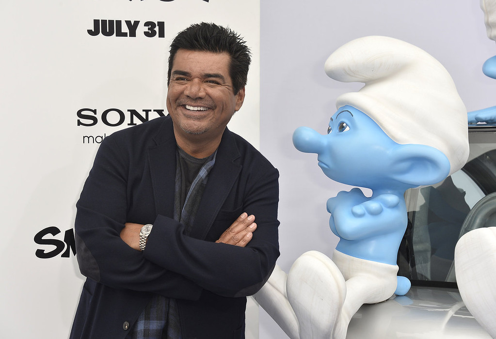 """. Actor George Lopez attends the premiere of Columbia Pictures\' \""""Smurfs 2\"""" at Regency Village Theatre on July 28, 2013 in Westwood, California.  (Photo by Frazer Harrison/Getty Images)"""
