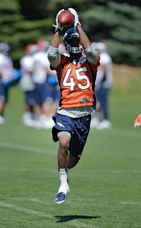 . Dominique Rodgers-Cromartie (45) of the Denver Broncos catches a pass during OTAs June 6, 2013 at Dove Valley. (Photo By John Leyba/The Denver Post)
