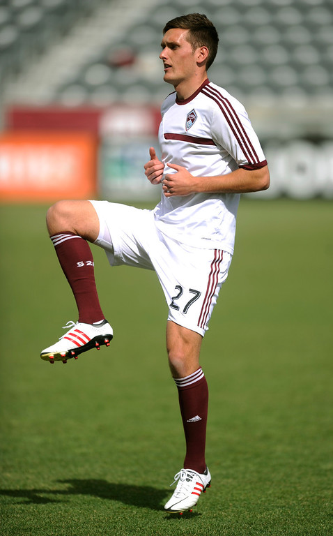 . Colorado defender Shane O\'Neill warmed up for his first career start Saturday. The Colorado Rapids hosted the Portland Timbers Saturday, March 30, 2013 at Dick\'s Sporting Goods Park in Commerce City.  Photo By Karl Gehring/The Denver Post)