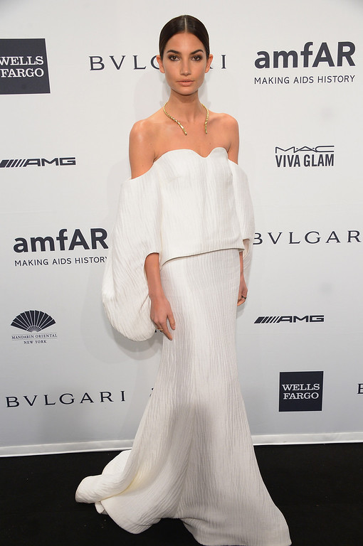 . Model Lily Aldridge attends the 2014 amfAR New York Gala at Cipriani Wall Street on February 5, 2014 in New York City.  (Photo by Michael Loccisano/Getty Images)