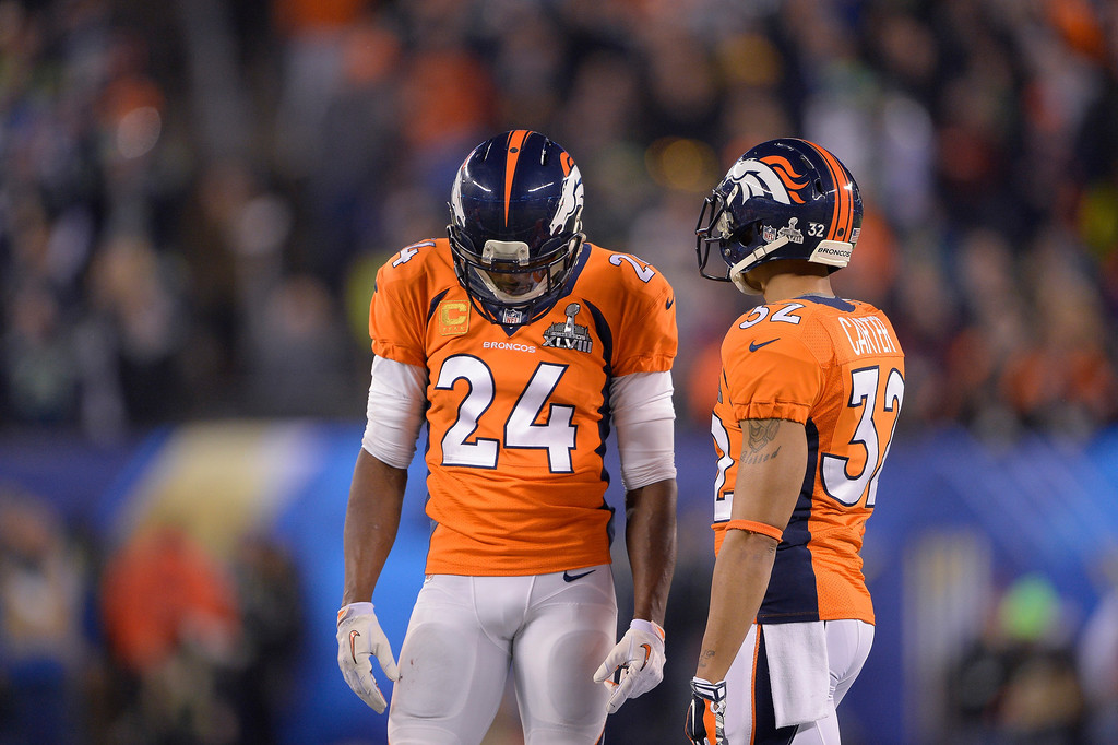 . EAST RUTHERFORD, NJ - FEBRUARY 2: Denver Broncos cornerback Champ Bailey (24) hangs his head as the Denver Broncos fall way behind to the Seattle Seahawks. The Denver Broncos vs the Seattle Seahawks in Super Bowl XLVIII at MetLife Stadium in East Rutherford, New Jersey Sunday, February 2, 2014. (Photo by Joe Amon/The Denver Post)