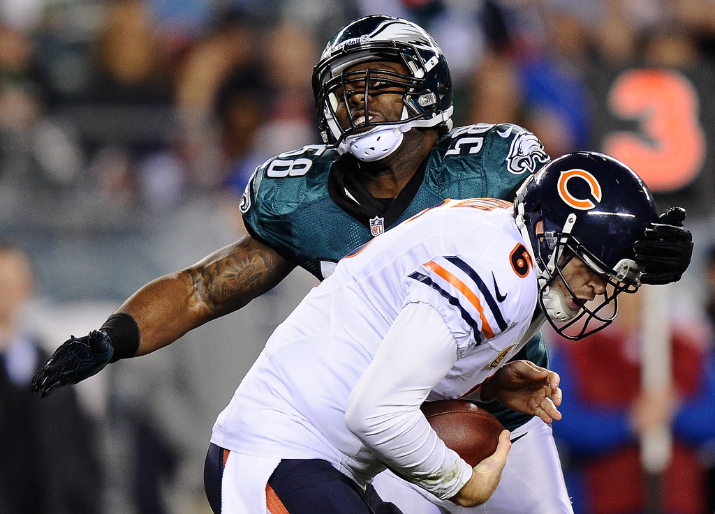 . Trent Cole #58 of the Philadelphia Eagles sacks Jay Cutler #6 of the Chicago Bears during the first quarter at Lincoln Financial Field on December 22, 2013 in Philadelphia, Pennsylvania.  (Photo by Maddie Meyer/Getty Images)