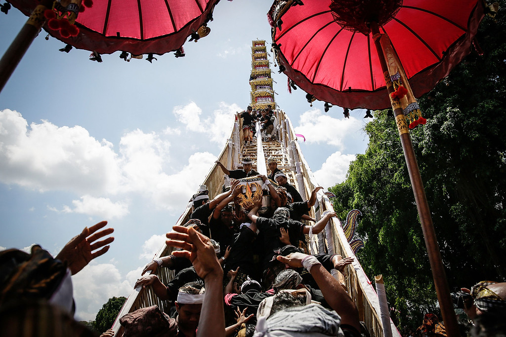 """. Ubud local carry the deceased body from the \""""bade\"""" (body carrying tower) to the bull-shaped sarcophagus at the cemetery during the Royal cremation ceremony on November 1, 2013 in Ubud, Bali, Indonesia. (Photo by Agung Parameswara/Getty Images)"""