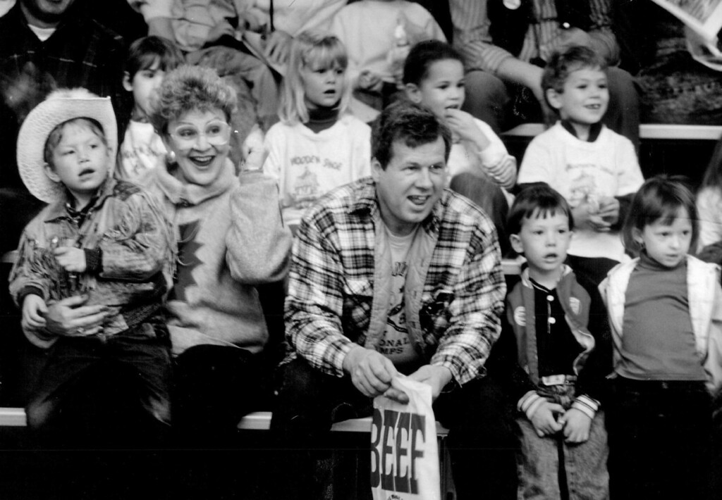 . Because of an editing error, three spectators at the National Western Stock Show were misidentified in a photo cutline in yesterday\'s Denver Post. They are Glen Spell, and his son and daughter, Darren and Leslie. 1990. Denver Post Library photo archive