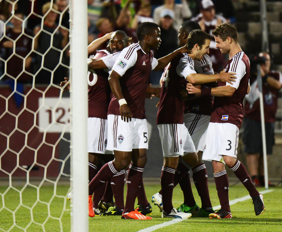 . COMMERCE CITY, CO. - MAY 25: Colorado Rapids players celebrate goal of Nathan Sturgis in the 2nd half of the game against Chivas USA at Dick\'s Sporting Goods Park. Commerce City, Colorado. May 25, 2013. Colorado won 2-0. (Photo By Hyoung Chang/The Denver Post)