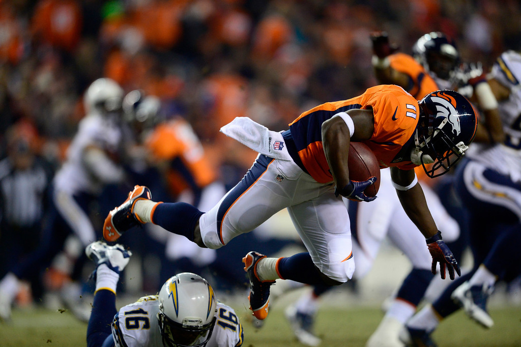 . DENVER, CO - DECEMBER 12: Denver Broncos wide receiver Trindon Holliday (11) stopped on a punt return at the 10 yard line during the second quarter. The Denver Broncos vs. the San Diego Chargers at Sports Authority Field at Mile High in Denver on December 12, 2013. (Photo by AAron Ontiveroz/The Denver Post)