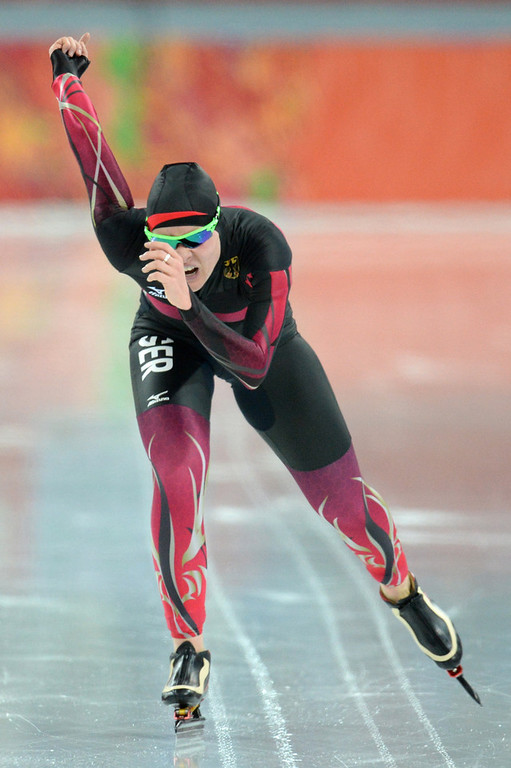 . Germany\'s Stephanie Beckert competes in the Women\'s Speed Skating 5000 m at the Adler Arena during the Sochi Winter Olympics on February 19, 2014.  (ANDREJ ISAKOVIC/AFP/Getty Images)