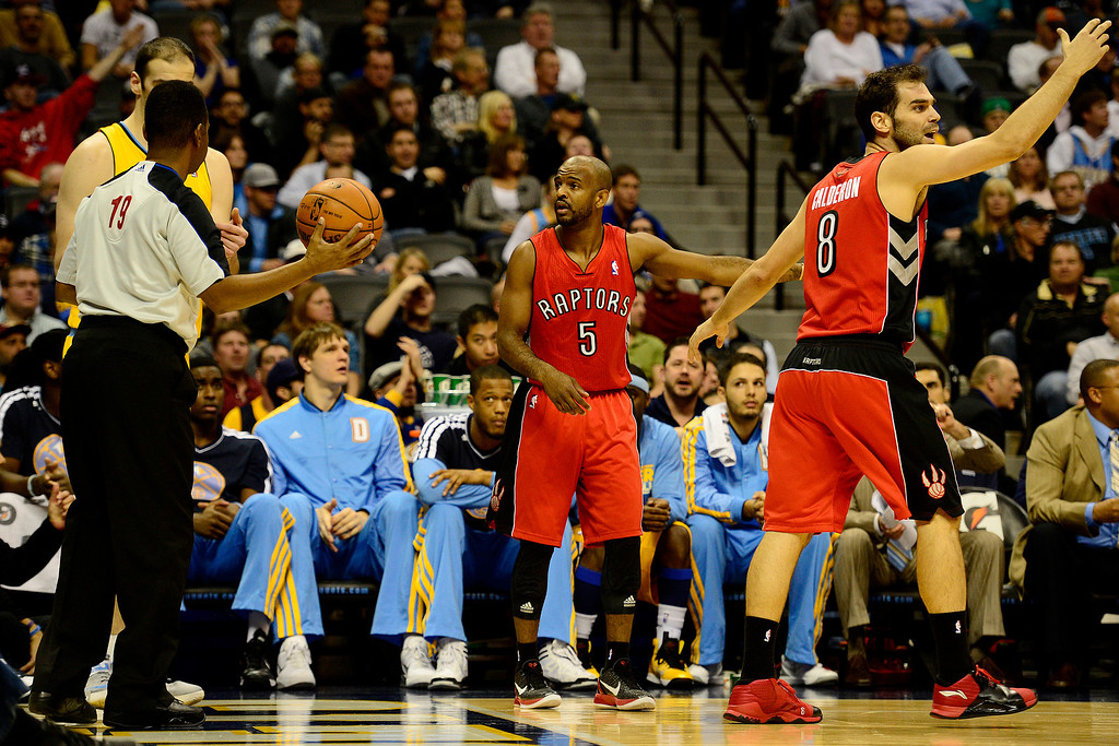 . Toronto Raptors point guard John Lucas (5) argues for possession during the second half of the Nuggets\' 113-110 win at the Pepsi Center on Monday, December 3, 2012. AAron Ontiveroz, The Denver Post