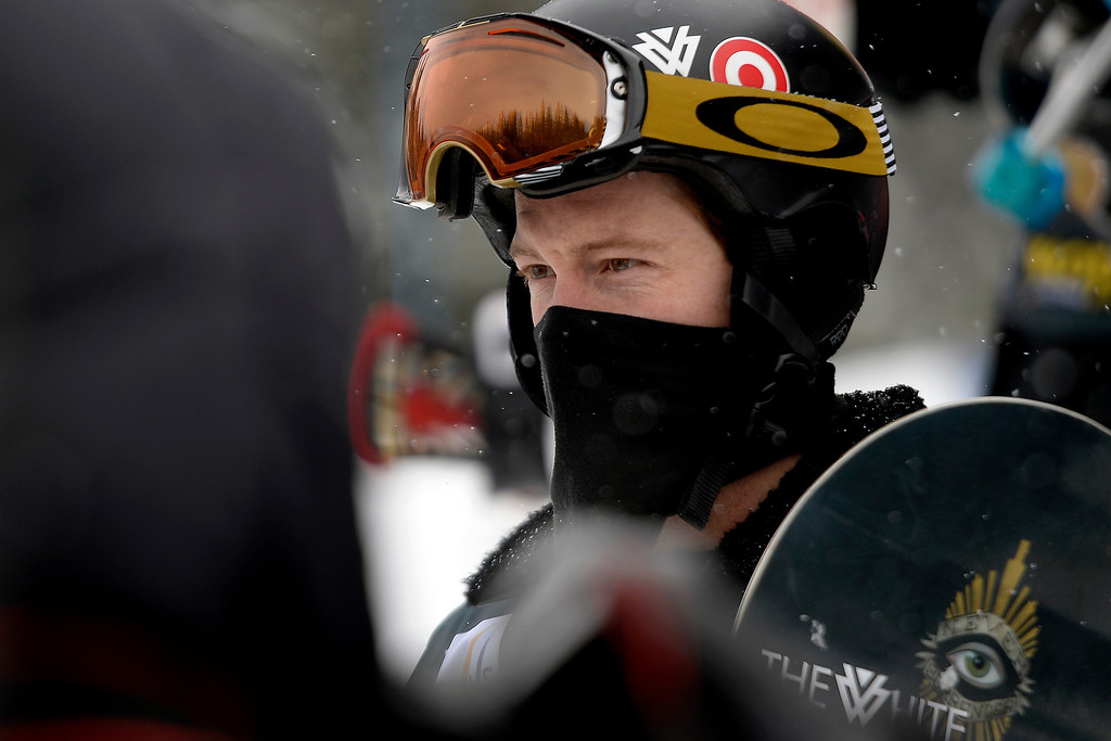 . Shaun White keeps his mask on during the awards ceremony for the slopestyle finals of the Copper Mountain Grand Prix.   (Photo by AAron Ontiveroz/The Denver Post)