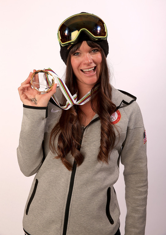 . Freeskier Keri Herman poses for a portrait with her FIS World Cup Slopestyle Overall Gold Medal from 2012/2013 during the USOC Media Summit ahead of the Sochi 2014 Winter Olympics on October 1, 2013 in Park City, Utah.  (Photo by Doug Pensinger/Getty Images)