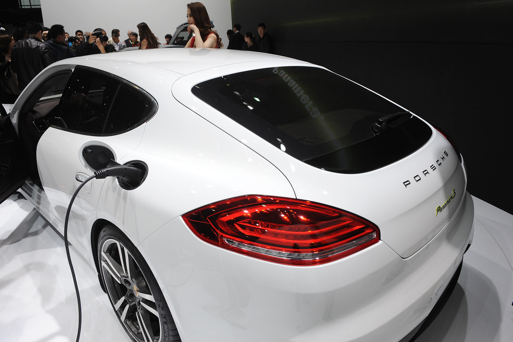 . This photo taken on April 20, 2013 shows a Porsche Panamera Hybrid electric version displayed on media day at the Shanghai auto show. The Shanghai auto show, which opens to the public on April 21, is expected to attract more than 800,000 visitors over the course of nine days.     PETER PARKS/AFP/Getty Images