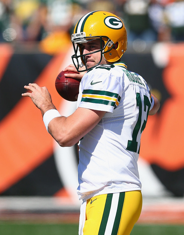 . Aaron Rodgers #12 of the Green Bay Packers throws a pass before the NFL game against Cincinnati Bengals at Paul Brown Stadium on September 22, 2013 in Cincinnati, Ohio.  (Photo by Andy Lyons/Getty Images)