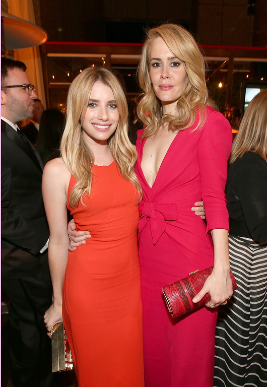. Actresses Emma Roberts (L) and Sarah Paulson attend the Fox Broadcasting Company, Twentieth Century Fox Television and FX celebration of their 2013 EMMY nominees at Soleto on September 22, 2013 in Los Angeles, California.  (Photo by Christopher Polk/Getty Images for FOX)