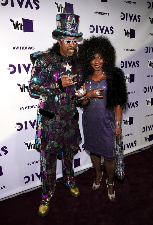 ". LOS ANGELES, CA - DECEMBER 16:  Musician Bootsy Collins (R) and Patti Collins attend ""VH1 Divas\"" 2012 at The Shrine Auditorium on December 16, 2012 in Los Angeles, California.  (Photo by Christopher Polk/Getty Images)"