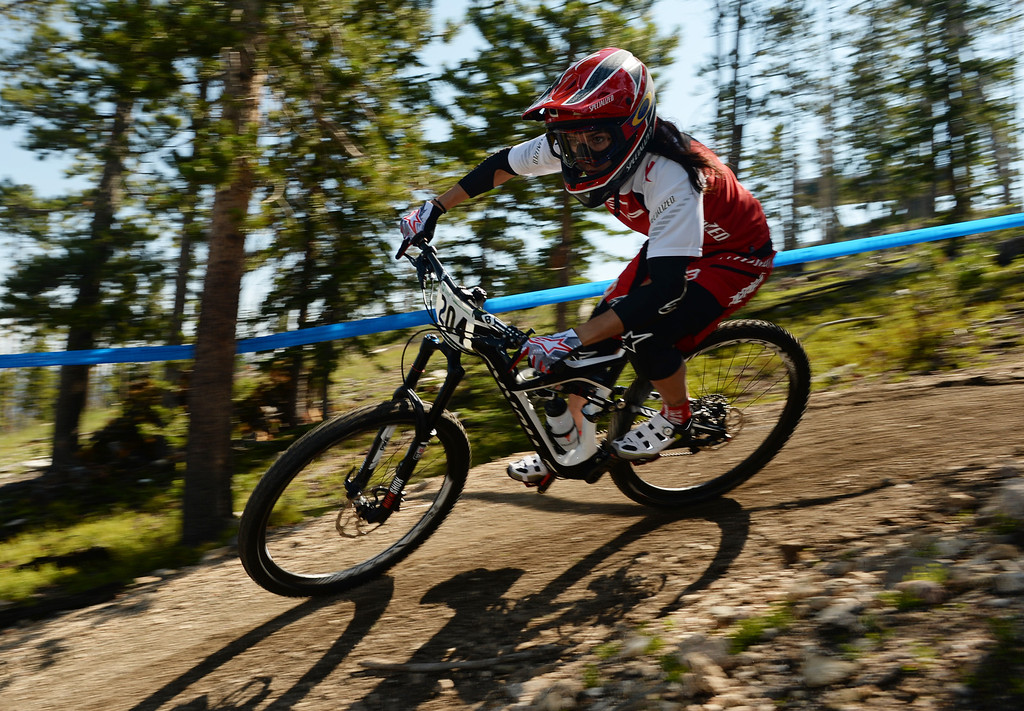 . WINTER PARK, CO. - July 26: Anneke Beerten controls the bike during the first stage of First international Enduro World Cup Championship ever in U.S. at Winter Park, Colorado. July 26, 2013. (Photo By Hyoung Chang/The Denver Post)