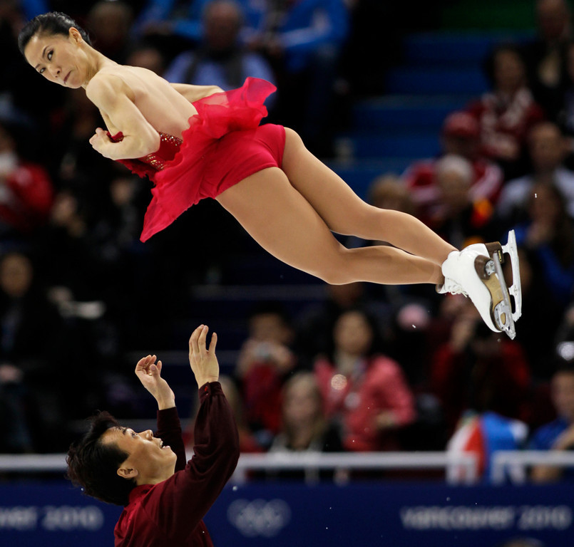 . China\'s Shen Xue and Zhao Hongbo perform their pairs free program during the figure skating competition at the Vancouver 2010 Olympics in Vancouver, British Columbia, Monday, Feb. 15, 2010. (AP Photo/Ivan Sekretarev)