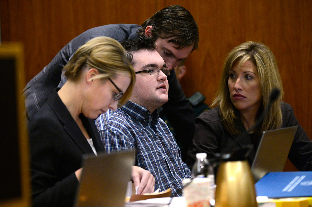 . Austin Sigg appears in Jefferson County Court, in Golden, for a sentencing hearing, November 19, 2013. Sigg, who pleaded guilty to the kidnapping and murder of 10-year-old Jessica Ridgeway, was in Courtroom 1-A with Chief Judge Stephen M. Munsinger presiding over the hearing. (Photo by RJ Sangosti/The Denver Post)