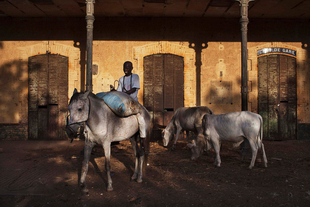 . A boy rides a horse in front of a colonial-era train station in disuse in the village of Ndande, May 18, 2013. Every year, inhabitants of the village take part in a Sufi Muslim ceremony called Gamou-Ndande. The ceremony combines nights of praying and chanting as well as traditionally animist ceremonies. Picture taken May 18, 2013. REUTERS/Joe Penney