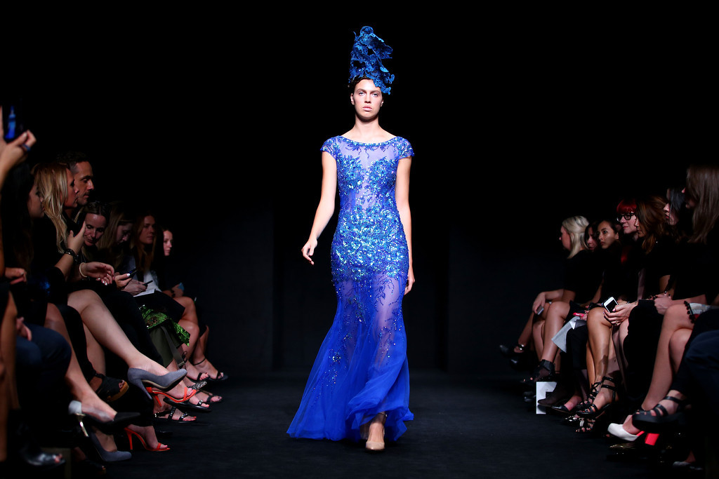 . A model walks the runway at the Betty Tran show during Mercedes-Benz Fashion Week Australia 2014 at Carriageworks on April 9, 2014 in Sydney, Australia.  (Photo by Mark Nolan/Getty Images)