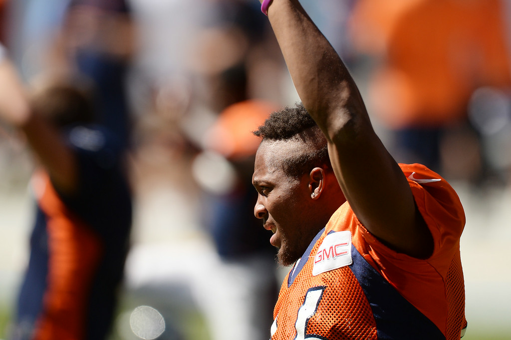 . Bennie Fowler of Denver Broncos (16) is in Sports Authority Field at Mile High for the Broncos scrimmage . Denver, Colorado. August 02. 2014. (Photo by Hyoung Chang/The Denver Post)
