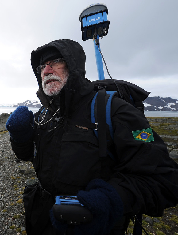 . Brazilian scientist Antonio Batista Perreira speaks with journalists at the Comandante Ferraz base, in Antarctica on March 10, 2014.   AFP PHOTO /VANDERLEI ALMEIDA /AFP/Getty Images