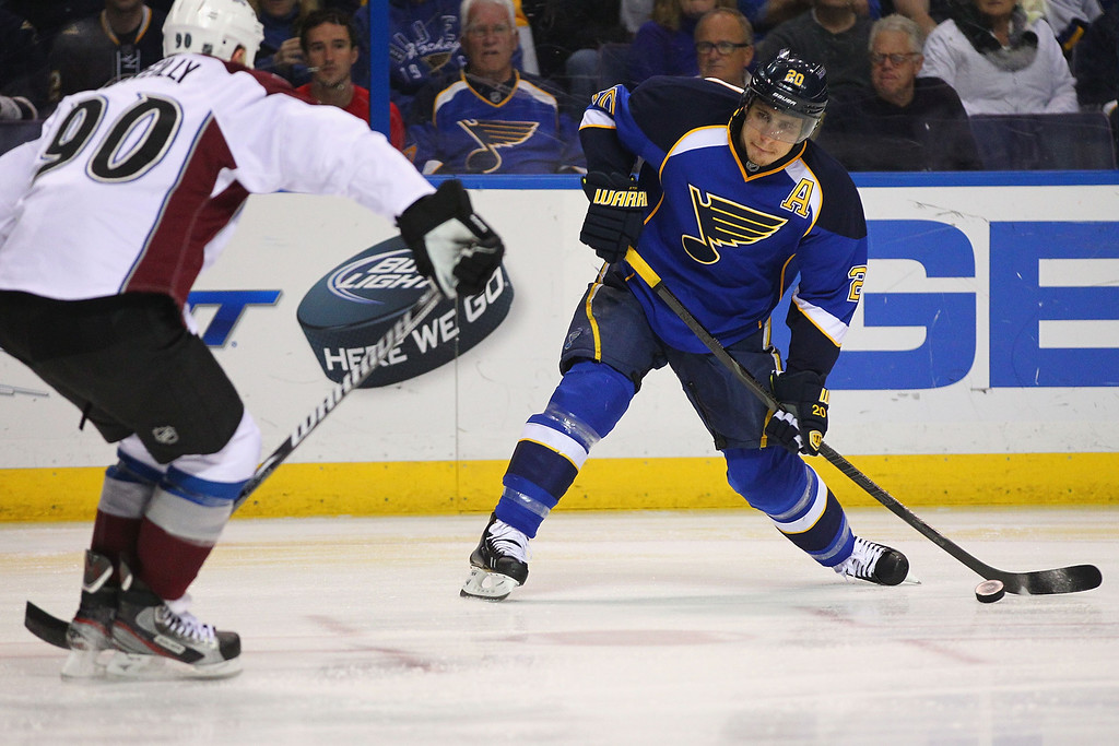 . ST. LOUIS, MO - APRIL 23: Alexander Steen #20 of the St. Louis Blues takes a shot on goal against the Colorado Avalanche during the first period at the Scottrade Center on April 23, 2013 in St. Louis, Missouri.  (Photo by Dilip Vishwanat/Getty Images)