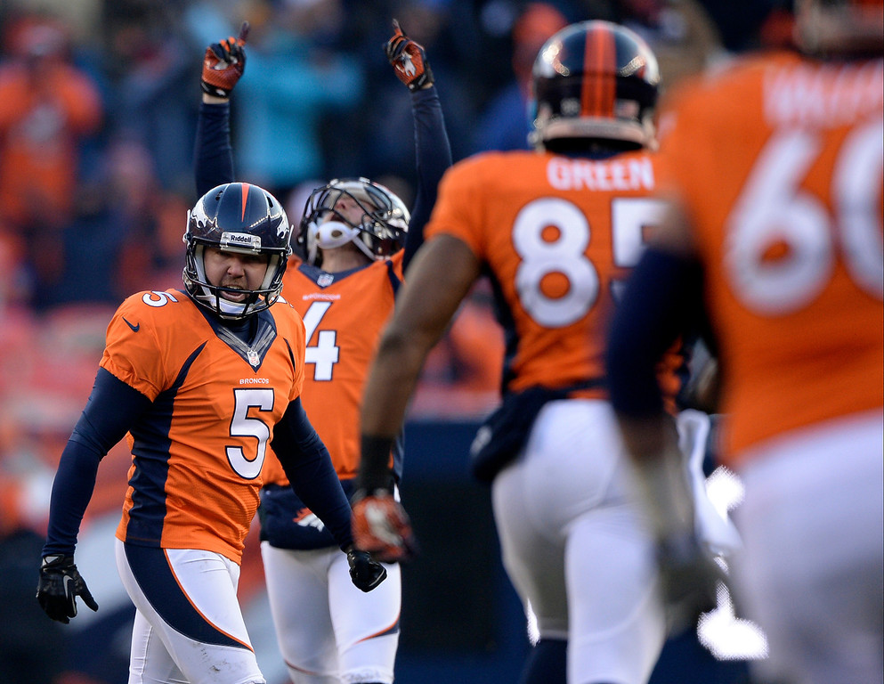 . Denver Broncos kicker Matt Prater (5) celebrates after kicking a record-breaking 64-yard field goal in the second quarter.    (Photo by Hyoung Chang/The Denver Post)