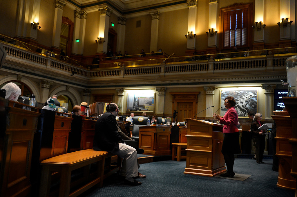 . DENVER, CO. - FEBRUARY 15: Representative Rhonda Fields during argument for HB 1224 prohibiting large capacity ammunition magazines in the Colorado House at the Denver State Capitol February 15, 2013. Denver, Colorado. (Photo By Joe Amon/The Denver Post)