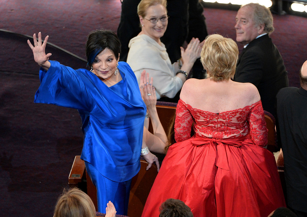 . Actress/singers Liza Minnelli (L) and Lorna Luft in the audience during the Oscars at the Dolby Theatre on March 2, 2014 in Hollywood, California.  (Photo by Kevin Winter/Getty Images)