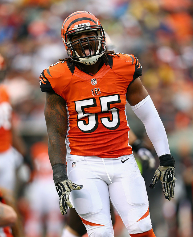 . Vontaze Burfict #55 of the Cincinnati Bengals celebrates during the NFL game against the Cleveland Browns at Paul Brown Stadium on November 17, 2013 in Cincinnati, Ohio.  (Photo by Andy Lyons/Getty Images)