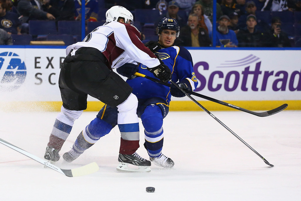 . ST. LOUIS, MO - NOVEMBER 14:  Jan Hejda #8 of the Colorado Avalanche pushes Alexander Steen #20 of the St. Louis Blues off the puck at the Scottrade Center on November 14, 2013 in St. Louis, Missouri.  The Blues beat the Avalanche 7-3.  (Photo by Dilip Vishwanat/Getty Images)