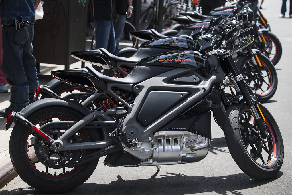 . Harley Davidson Livewire motorcycles, Harley Davidson\'s first electric bike, sits on display outside the Harley Davidson Store on June 23, 2014 in New York City. The Livewire has 74 horsepower and a top speed of 92 miles per hour.  (Photo by Andrew Burton/Getty Images)