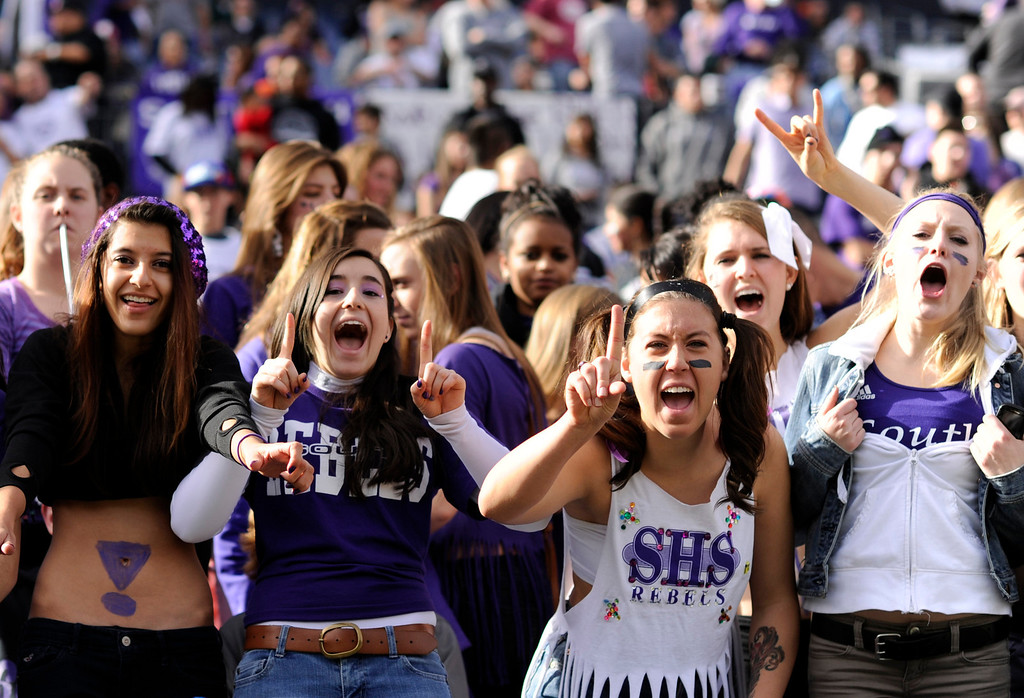 . Denver South students cheer the team against Monarch during 4A State Championship game at Sports Authority Field at Mile High on Saturday, Dec. 1, 2012. Hyoung Chang, The Denver Post
