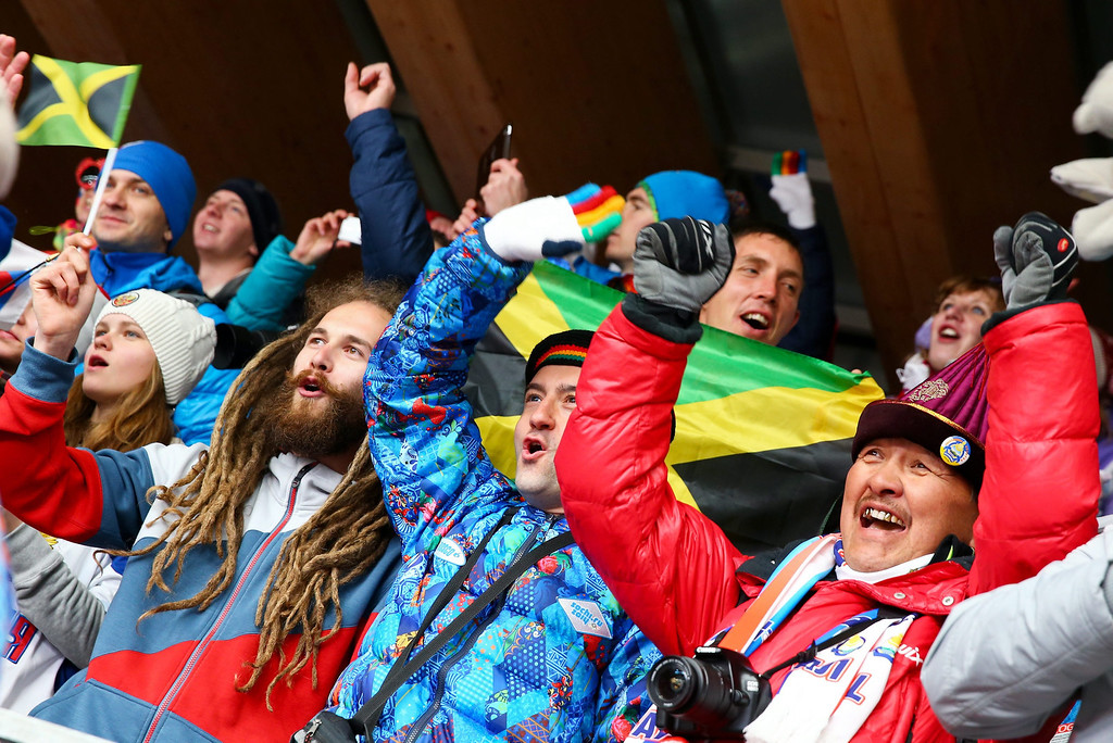 . Supporters of Jamaica watch the first run of the Two-Man Bobsleigh competition at the Sanki Sliding Center at the Sochi 2014 Olympic Games, Krasnaya Polyana, Russia, on Feb. 16, 2014. EPA/JENS BUETTNER