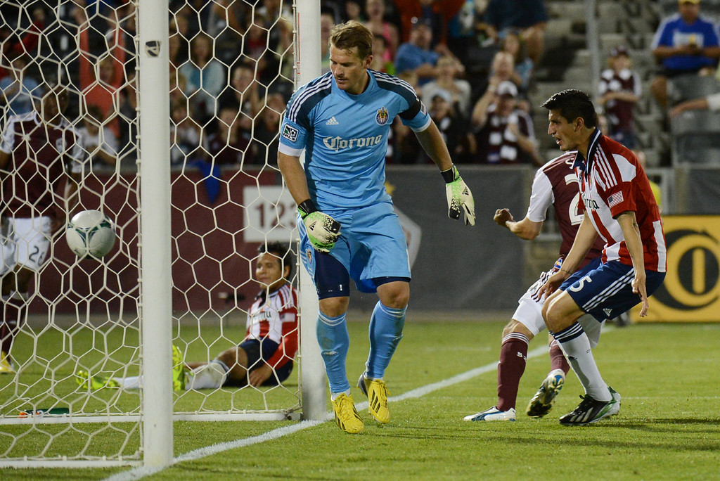 . COMMERCE CITY, CO. - MAY 25: Goalie Dan Kennedy (1) and Carlos Borja (5) of Chivas USA are watching the goal of Nathan Sturgis of Colorado Rapids (24) of Colorado Rapids at Dick\'s Sporting Goods Park. Commerce City, Colorado. May 25, 2013. Colorado won 2-0. (Photo By Hyoung Chang/The Denver Post)
