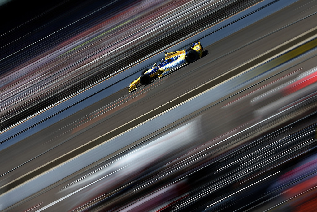 . INDIANAPOLIS - MAY 25:  Marco Andretti  driver of the #25 Snapple Andretti Autosport Honda Dallara  drives during the 98th running of the Indianapolis 500 Mile Race on May 24, 2014 at the Indianapolis Motor Speedway in Indianapolis, Indiana.  (Photo by Jonathan Ferrey/Getty Images)