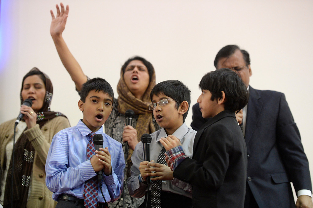 . AURORA, CO. - JANUARY 11:  Members of the Indian-Pakistan Bethel Pentecostal Worship team perform at the Addis Kidan Evangelical Church dedication service, Saturday morning, January 10, 2014. (Photo By Andy Cross / The Denver Post)