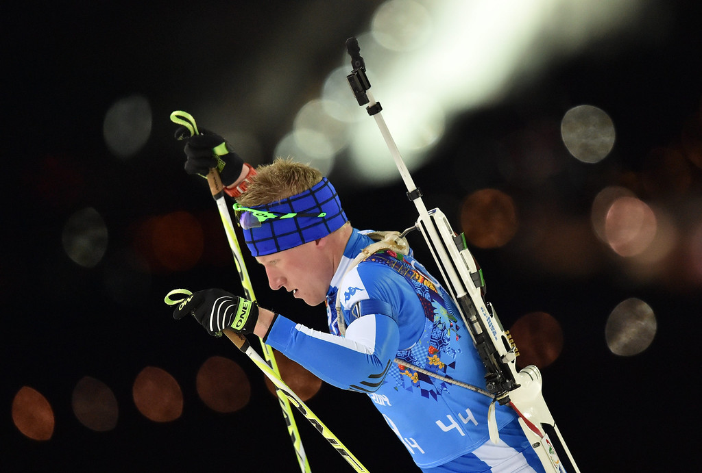 . Lukas Hofer of Italy in action during the Mixed Relay competition at the Laura Cross Biathlon Center during the Sochi 2014 Olympic Games, Krasnaya Polyana, Russia, 19 February 2014.  EPA/HENDRIK SCHMIDT