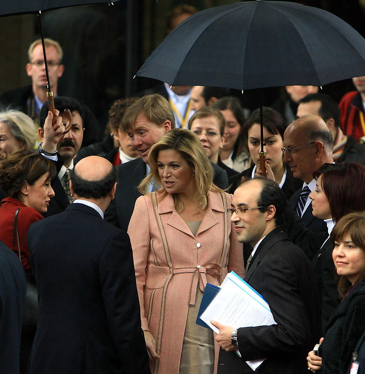. Prince Willem-Alexander of the Netherlands and his pregnant wife Princess Maxima of the Netherlands visit Middle East Technical University (METU) on February 28, 2007, in Ankara, Turkey. The Dutch royal family arrived in Ankara on Tuesday for a four-day official visit to Turkey. (Photo by Stringer/Getty Images)