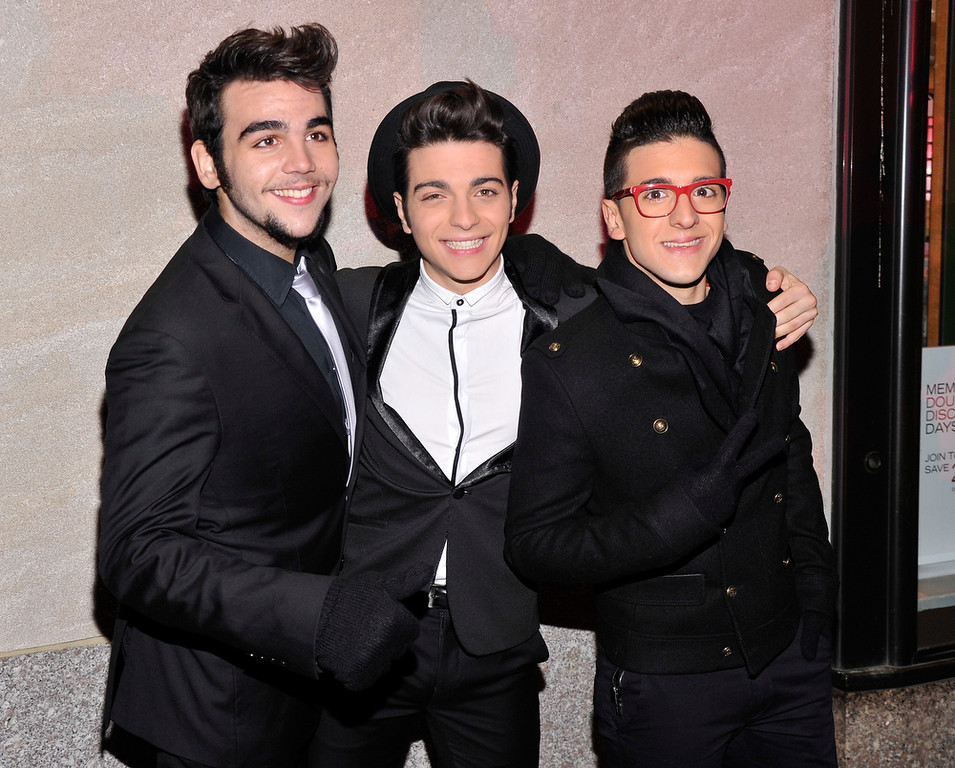 . Ignazio Boschetto, Gianluca Ginoble, and Piero Barone of Il Volo attend the 80th Annual Rockefeller Center Christmas Tree Lighting Ceremony on November 28, 2012 in New York City.  (Photo by Stephen Lovekin/Getty Images)