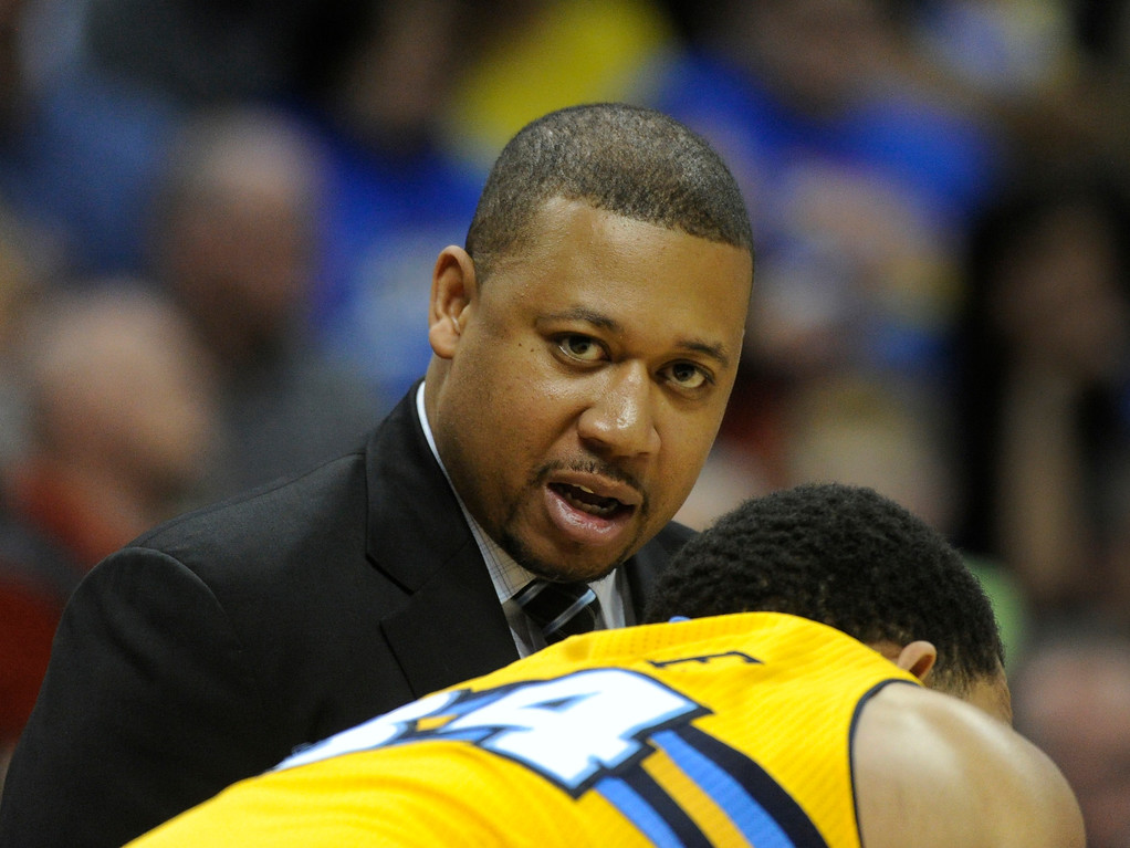 . DENVER, CO. - MARCH 29: Nuggets assistant coach Melvin Hunt shared a word with center JaVale McGee in the second half. The Denver Nuggets defeated the Brooklyn Nets 109-87 Friday night, March 29, 2013 at the Pepsi Center in Denver.  (Photo By Karl Gehring/The Denver Post)