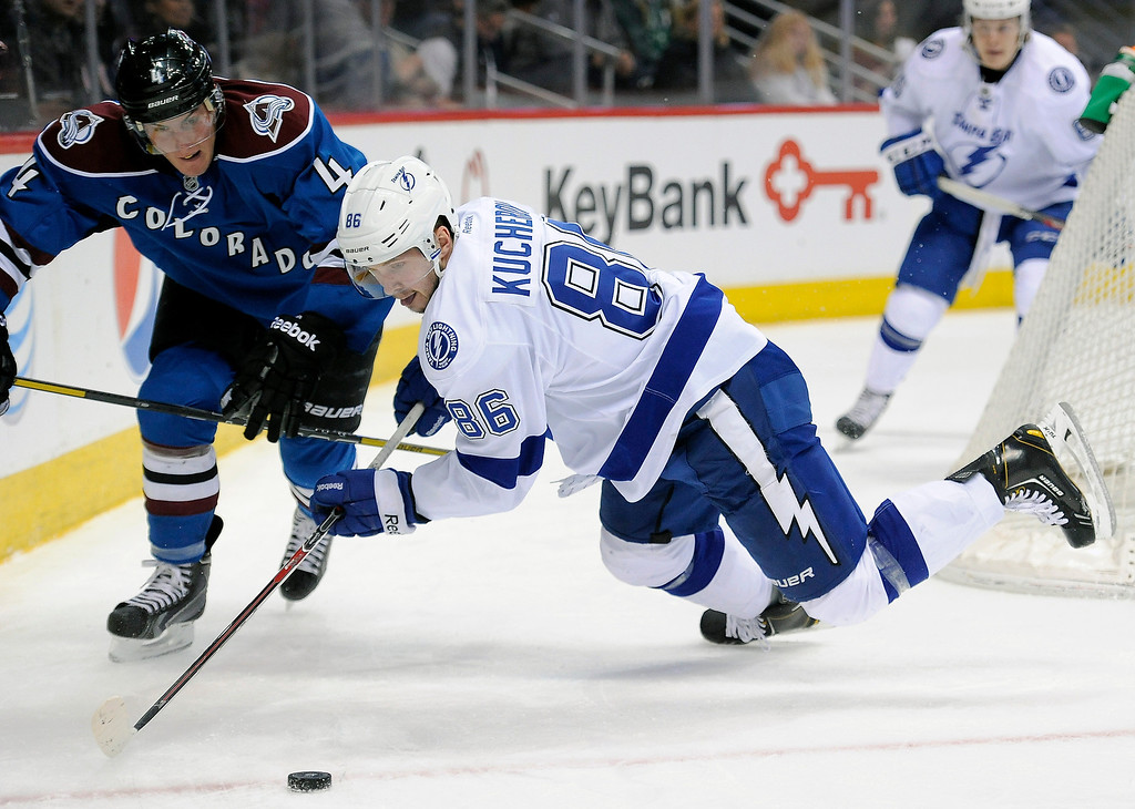 . Tampa Bay Lightning right wing Nikita Kucherov, right, of Russia, and Colorado Avalanche defenseman Tyson Barrie vie for the puck during the second period of an NHL hockey game Sunday, March 2, 2014, in Denver. (AP Photo/Chris Schneider)