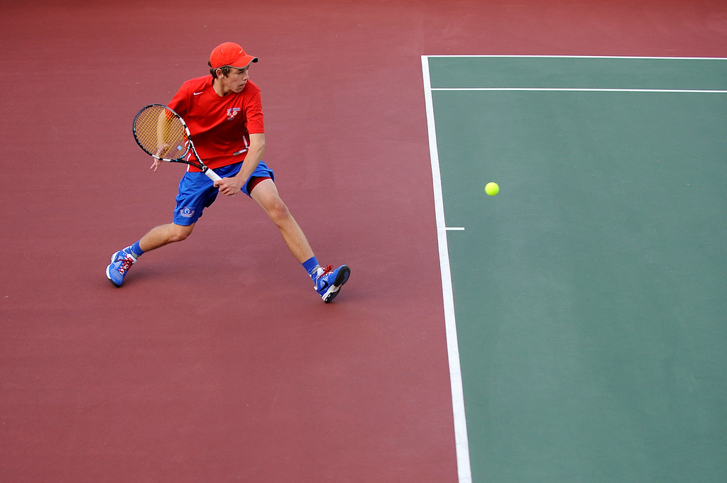 . DENVER, CO. - OCT 12:   Cherry Creek\'s Connor McPherson hits back to opponent Ben Antonsen of Mountain Vista. McPherson won the #2 singles match during the final day of the 5A Boys\' Tennis Championships at Gates Tennis Center on Oct. 12, 2013.  (Photo By Erin Hull/The Denver Post)