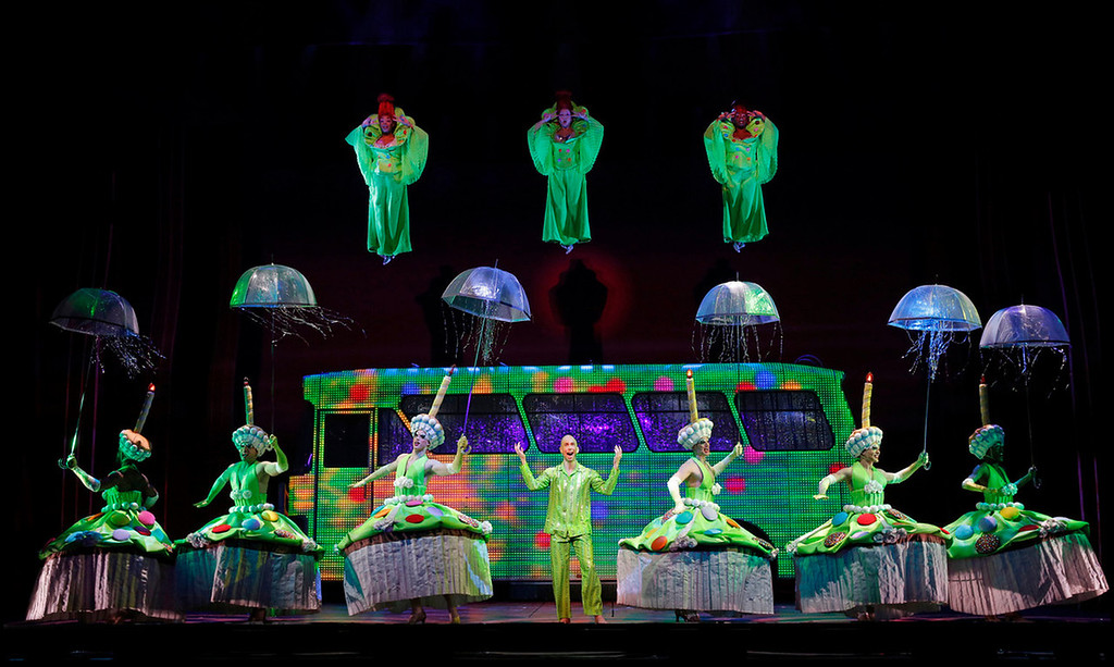 """. Wade McCollum, center, and company in \""""Priscilla Queen of the Desert the Musical\"""" which will be at the Buell Theatre Sept. 3-15.   (Photo by Joan Marcus, Provided by Denver Center Attractions)"""