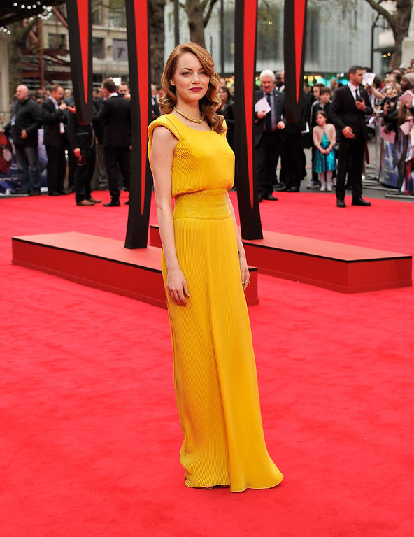 . Actress Emma Stone attends \'The Amazing Spider-Man 2\' world premiere at the Odeon Leicester Square on April 10, 2014 in London, England.  (Photo by Gareth Cattermole/Getty Images for Sony)